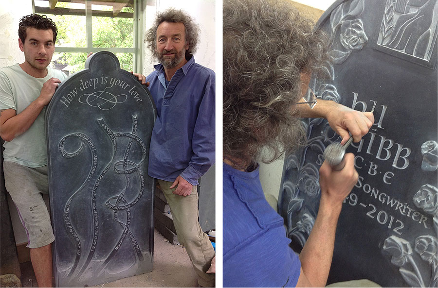 Martin Cook and his son Matthew with the unfinished stone – over 500 hours of hand carving